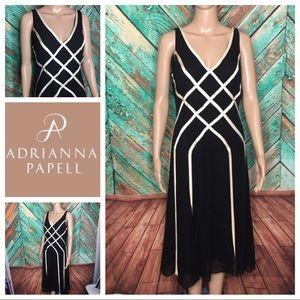 Adrianna Papell Ribbon Detail Silk Dress